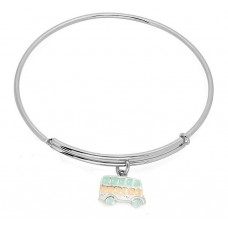 Expandble Bracelet in Sterling Plate And Sterling Charm Bus