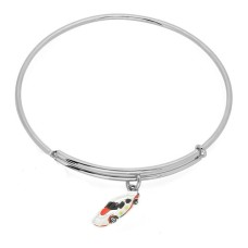 Expandble Bracelet in Sterling Plate And Sterling Charm Racing Car