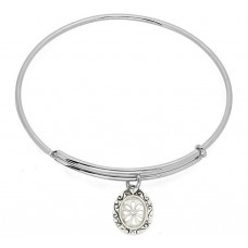 Expandble Bracelet in Sterling Plate And Sterling Oval Daisy Frame Charm