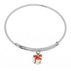 Expandble Bracelet in Sterling Plate And Sterling Gift Charm