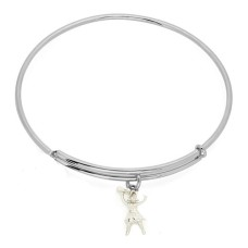 Expandble Bracelet in Sterling Plate And Sterling Charm Cheerleader with megaphone