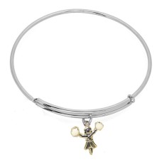 Expandble Bracelet in Sterling Plate And Sterling Charm Cheerleader