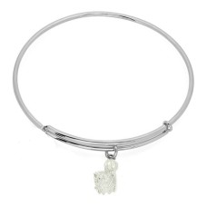 Expandble Bracelet in Sterling Plate And Sterling Charm Basketball net