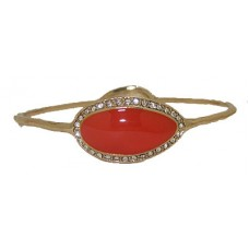 Orange Hammer Gold Bangle accented in Crystal cuff