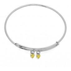 Expandble Bangle in Sterling & Crystal Heart Charm