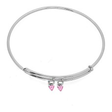Expandble Bangle in Sterling And Crystal Heart Charm