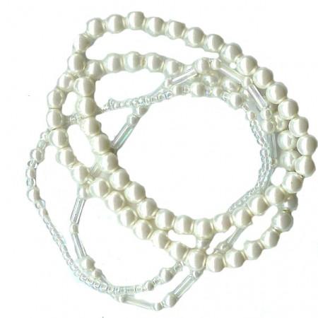 4 Strand Pearl Stretch Bracelets White
