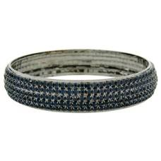 Gun metal 65 mm five row Jet Black crystal bangle Bracelets