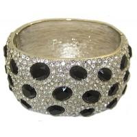 Black High End Bangle Bracelets, Accent in Crystal