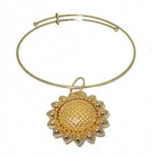 Expandable Bangle with Big Yellow Flower