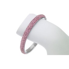 Pink 4 Row Austrian Crystal Stainless Steel Bangle