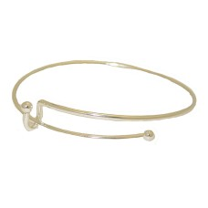 Expandable Wire Bangle Bracelet white gold