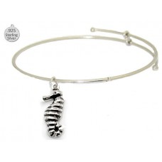 Expandable Bangle with Large Sterling Sea Horse