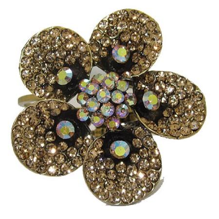 Crystal Flower Bangle Bracelet, Cuff