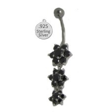 Jet 925 Wholesale terling Silver Belly Ring w flowers In CZ