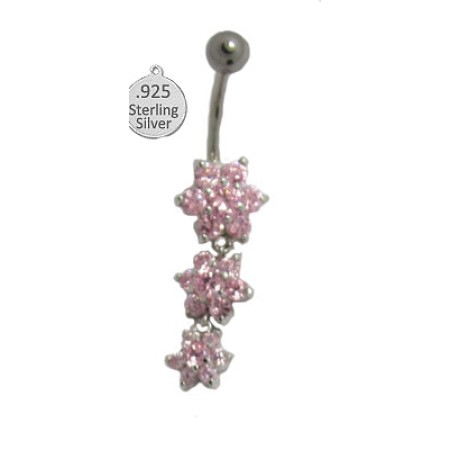 Pink 925 Sterling Silver Belly Ring flowers CZ