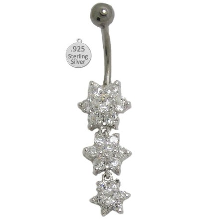 Austrian Crystal 925 Sterling Silver Belly Ring w flowers in Cz