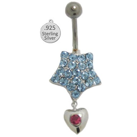 925 Sterling Silver Wholesale Body Charm Blue