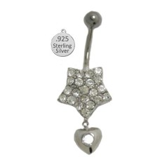 Navel Jewelry 925 Sterling Silver Body Charm White