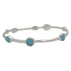 Turquoise Mate Gold Round Rectagle Stones Bangle Bracelet