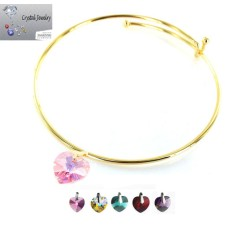 Crystal Stone Heart Charm Bangle Bracelet with pouch yellow gold & AB