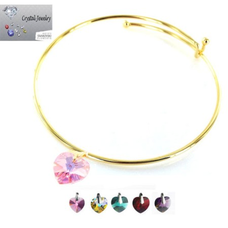 Crystal Stone Heart Charm Bangle Bracelet with pouch yellow gold And Rose