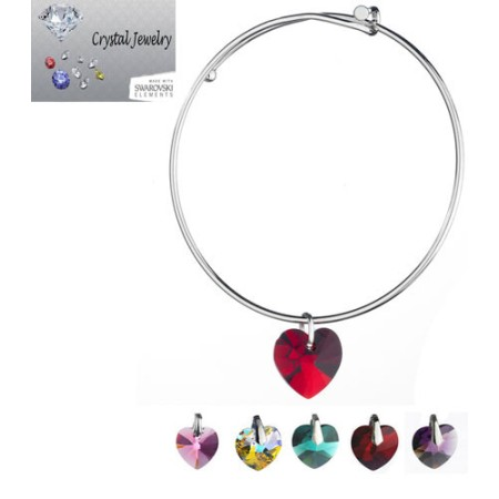 Austrian Crystal Heart Charm Bangle Bracelet with pouch white gold And AB