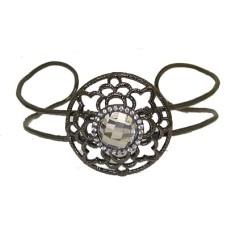 Gunmetal Cuff Wholesale Bangle Bracelet with Cz Accents