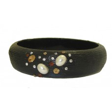 Black Resin Bangle Bracelets with Crystal accent