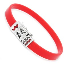 Red Rubber And Silver Bracelet for Slide Charms