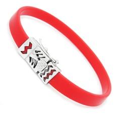 Red Rubber & Silver Bracelet for Slide Charms