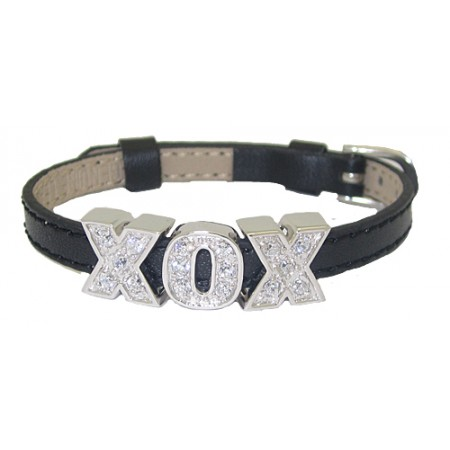 Black Leather Slide Bracelet with Sterling Silver Charms