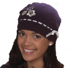 A wholesale Knit Hat with Flowers