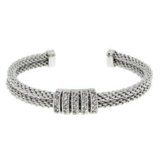 Brass base rhodium plated White CZ bangle