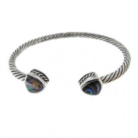 Antique Silver Abalone Bangle Bracelet