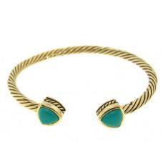 Gold Cable Bangle Bracelet Turquoise