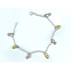 Sterling Silver And Citrene CZ Charm Bracelet