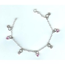 Sterling Silver And Pink CZ Charm Bracelet