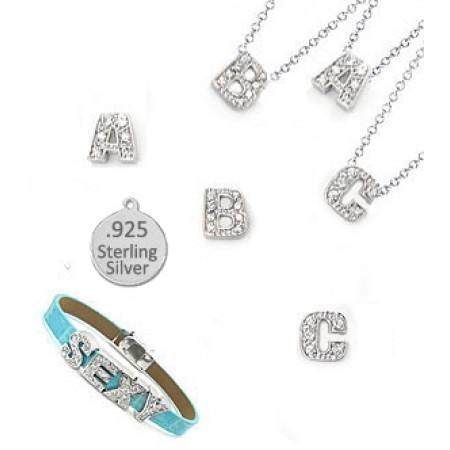 36 Block Sterling Silver Charm Letters for bracelet