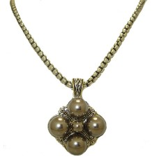 Gunmetal Pearl Crystal Designer Neacklace
