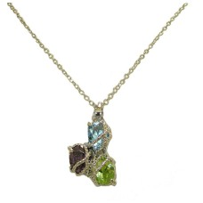 Twisted Cable Simulated Diamond Dark Multi Pendant wholesale jewelry