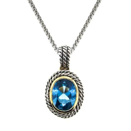 Double Cable Necklace Blue Topaz