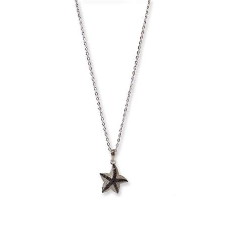 2 Tone Silver Gun Metal Jet Black Starfish Pendant
