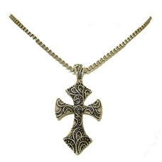 One tone antiqued silver cross pendant on box chain