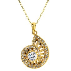 Yellow Gold And Cz Nautilus Shell Pendant
