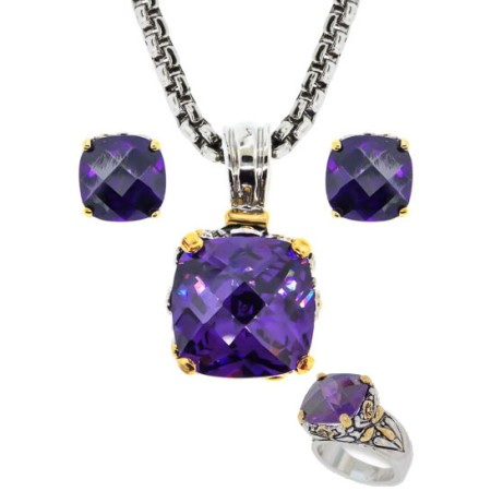 Designer Cable Jewelry 3 pcs Set in Amethyst