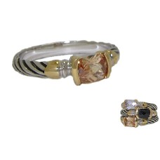 Designer Cable Stackable Ring Champagne