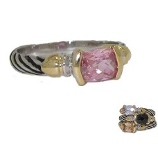 Designer Cable Stackable Ring Pink
