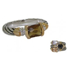 Designer Cable Stackable Ring Smokey Topaz