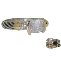 Designer Cable Stackable Ring Clear White